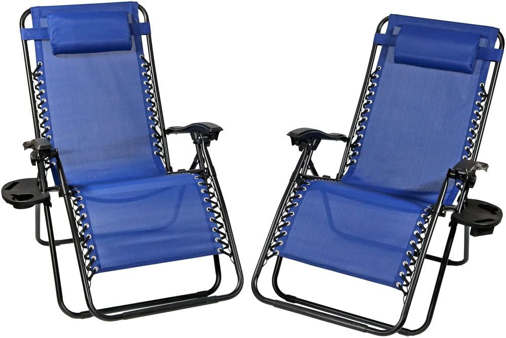 Sunnydaze Outdoor XL Zero Gravity Lounge Chair with Pillow and Cup Holder, Folding Patio Lawn Recliner, Navy Blue, Set of 2