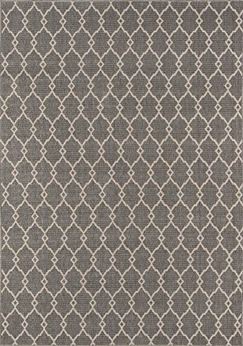 Momeni Rugs , Baja Collection Contemporary Indoor Outdoor Area Rug, Easy to Clean, UV protected Fade Resistant, 8 6 x 13 , Grey