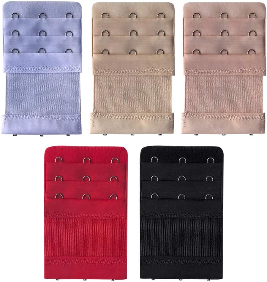 Qeedio 2Pcs Bra Strap Extenders Women Elastic Bra Extender 3 Hooks 3 Rows Back Clip Strap Clasp Buckle Adjustable Belt Buckle Soft and Comfortable Women Bra Extensions