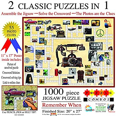 SUNSOUT INC Crossword Jigsaw Combo: Remember When 1000 pc Jigsaw Puzzle: Toys & Games