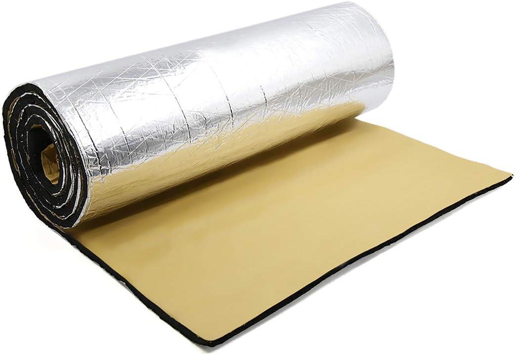 sourcing map 200cm x 50cm Vehículo Insonorizante Forro Aluminio Papel Adhesivo 10mm de Espesor Espuma Aislante de Calor Aislamiento Térmico Acústico Amortiguación de Sonido