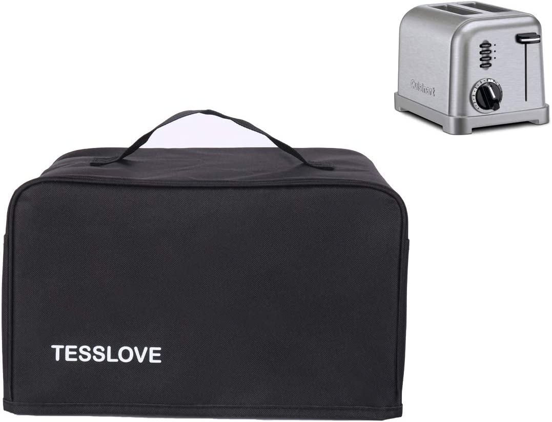 TESSLOVE toaster Dust Cover Compatible with Cuisinart 2 Slice Toaster, with 2 Pockets can put Jam Spreader Knife & Toaster Tongs, prevent from water Dust and Fingerprint