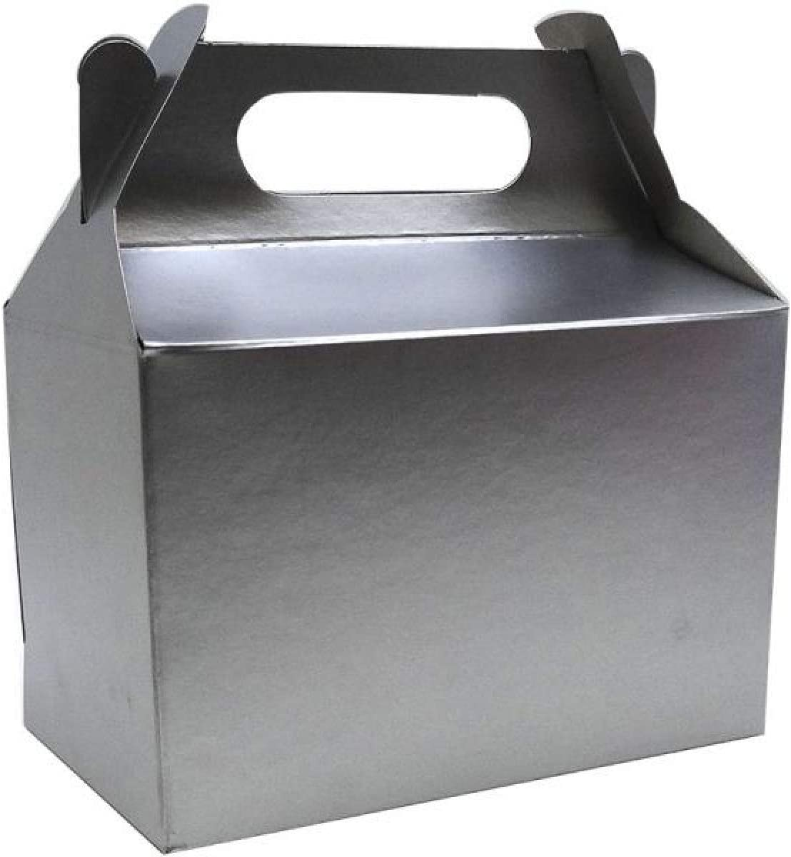 Shatchi 20Pk Silver Childrens Lunch Takeaway Birthday Wedding Cake Meal Food Boxes Party Bags Bulk