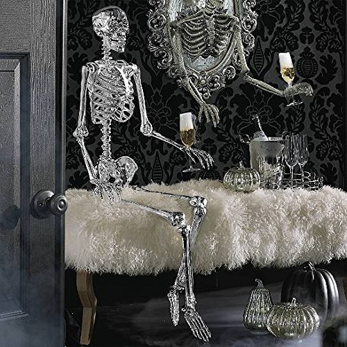 Price comparison product image Glam Metallic Silver 5 Foot Poseable Skeleton Bones Prop Haunted House Halloween
