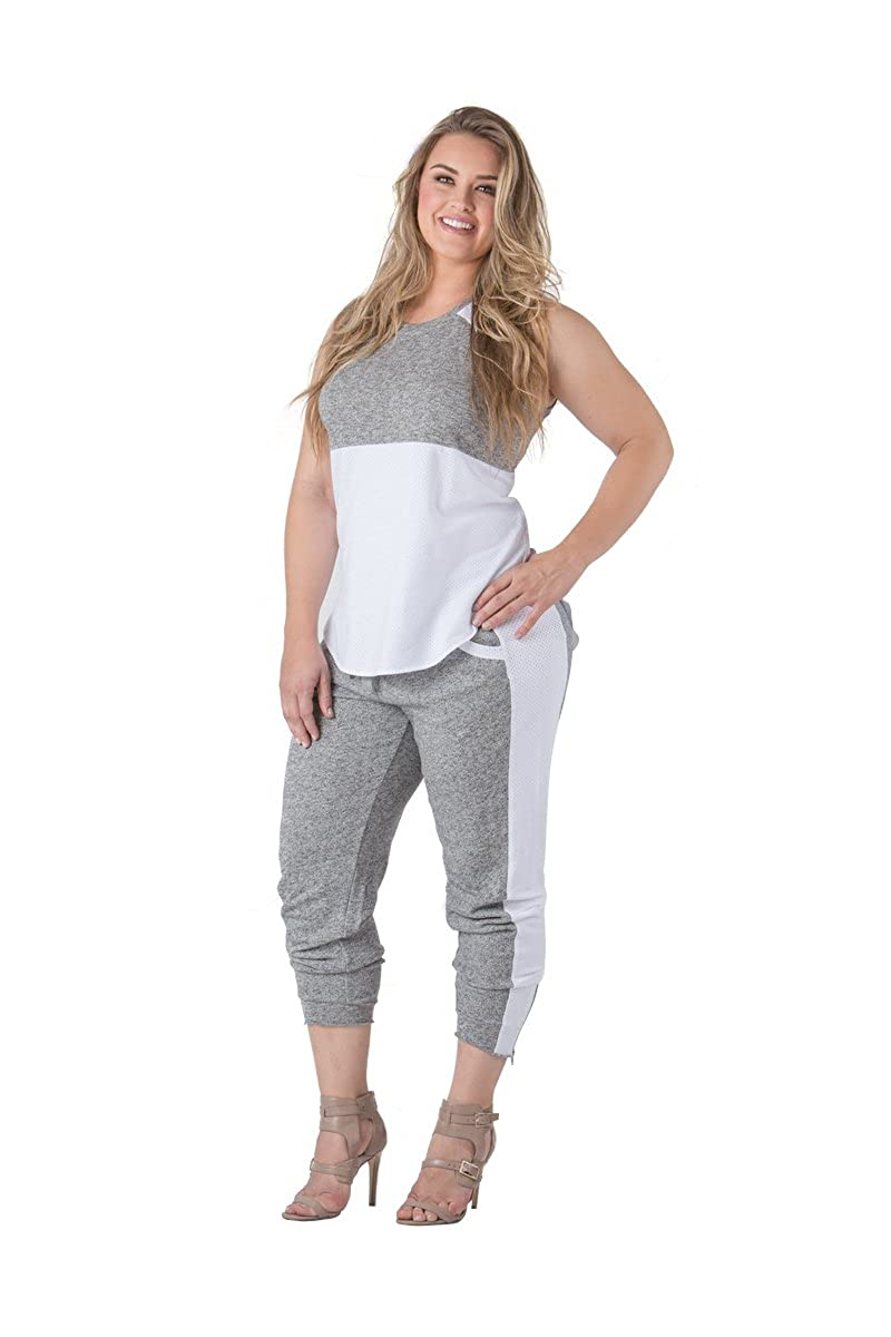 Standards & Practices Plus Size Sami Knit Jogger Pants SP16104FTB-CHARWHITE