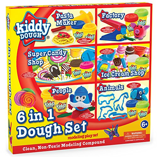 Kiddy Dough Deluxe Mega Dough Set Includes 12 2oz Dough Cans - Pasta Factory, Candy Shop, Factory Playset, Ice Cream Shop, Animal Dough Cutters a Other Popular Modeling Tool Sets - Ages 6+