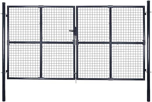 Puerta de Malla de jardín Acero galvanizado 289x150 cm grisBricolaje Vallas de jardín Puertas de jardín: Amazon.es: Hogar