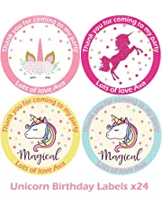 Treasured Forever 24 x Personalised Unicorn Birthday Stickers For Party Thank You Sweet Cone Bags