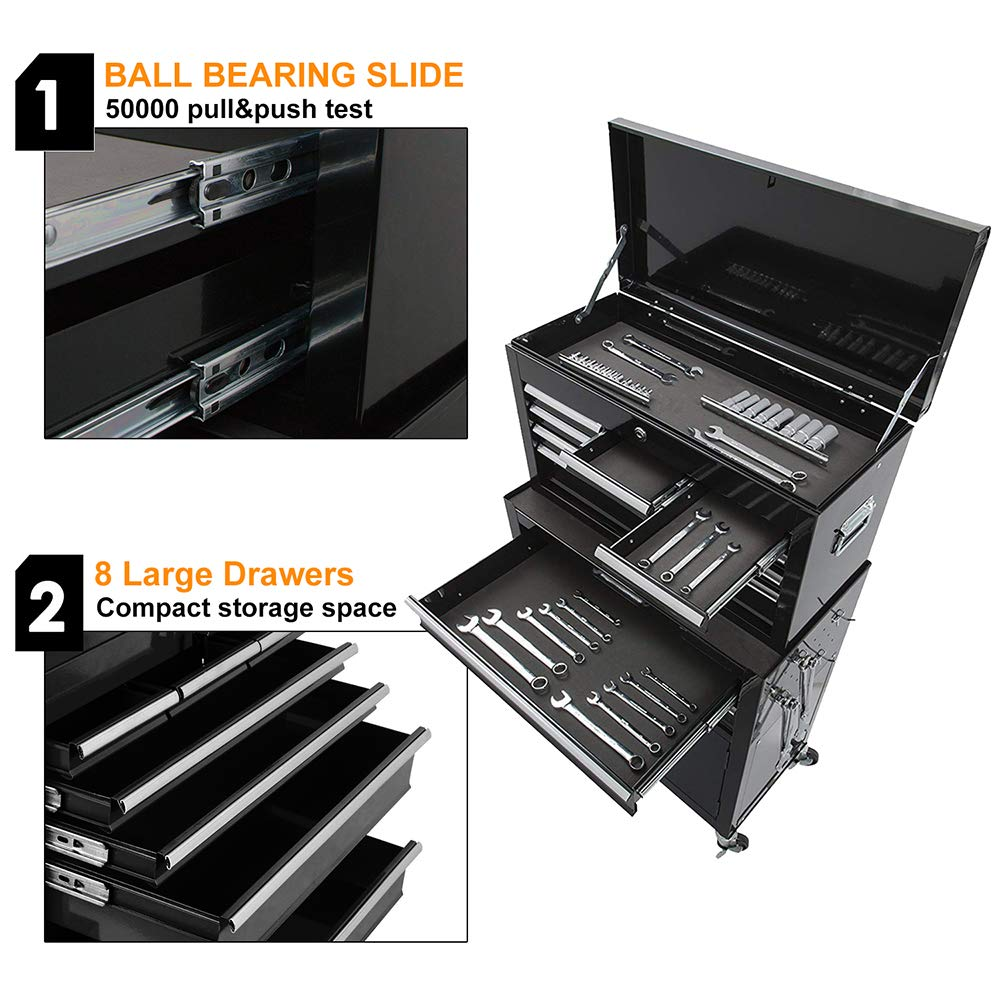 Portable Tool Storage Box 2 in 1 Rolling Tool Chest Removable Tool Storage Cabinet with Sliding Drawers Keyed Locking System Toolbox Organizer,Black by I-Choice (Image #3)