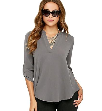 ... en V Blusa Gasa Fiesta Camisas Mujer Camisetas Largas Elegantes Dama Bonitas Blusas Top para Señoras Blusones Anchas: Amazon.es: Ropa y accesorios