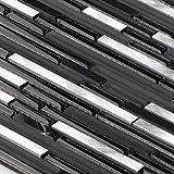 Kitchen Backsplash Tiles 12x12 Sheets for Shower Bathroom Wall Mosaic Stainless Steel Metal Glass Stone Black White - Martini Mosaic - Riga - Silver Black, 8 SQ.FT (BOX), Riga by Martini Mosaic