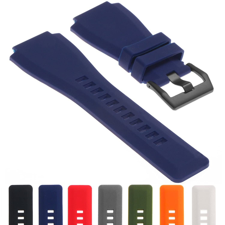 StrapsCoゴム腕時計ストラップ24 mmバンドW /マットブラックバックルのBell & Ross B & R br-01 br-03 グレー Grey B075QLNZVW