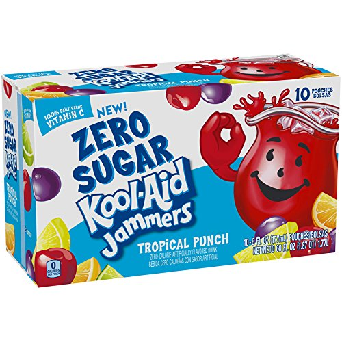 Kool Aid Punch - Kool-Aid Jammers Zero Sugar, Tropical Punch, 10 Count, 60 Ounce (Pack of 4)