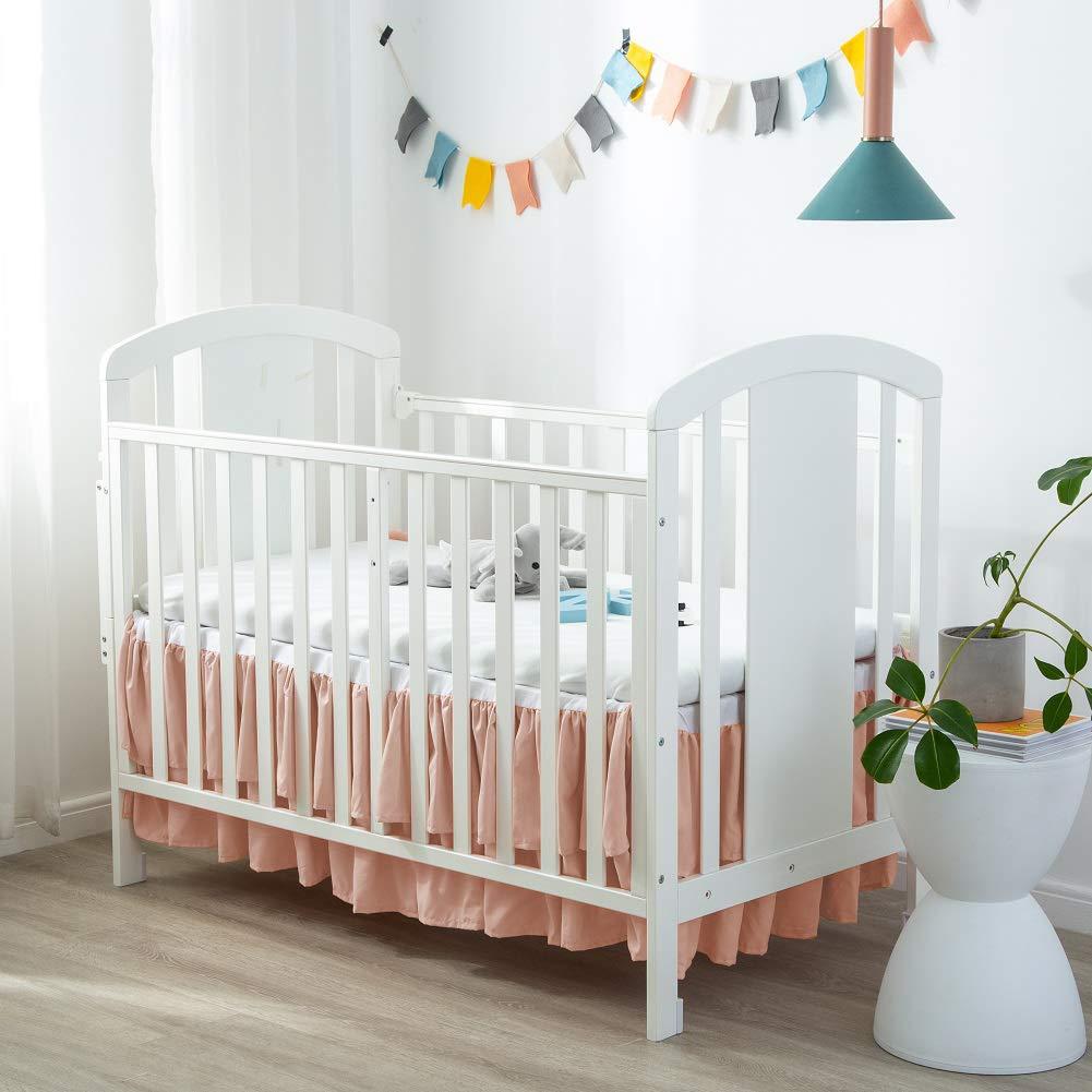 Nursery Crib Bedding Skirt for Baby Boys and Girls 100/% Pure Natural Cotton 14/' Drop Black Black Crescent Black Pleated Crib Skirt