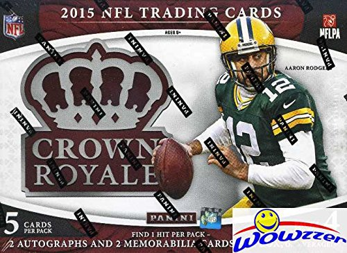 2015 Panini Crown Royale NFL Football Factory Sealed HOBBY Box with FOUR(4) AUTOGRAPH/MEMORABILIA Cards! Look for Rookies & Autographs of Marcus Mariota, Jameis Winston, Todd Gurley & Many - Sports Cards Panini