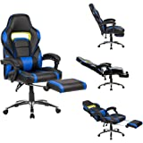 LANGRIA Computer Gaming Chair Faux Leather Racing Style Executive Office Chair Ergonomic High Back Design With Padded Footrest Lumbar Support,Black and Blue