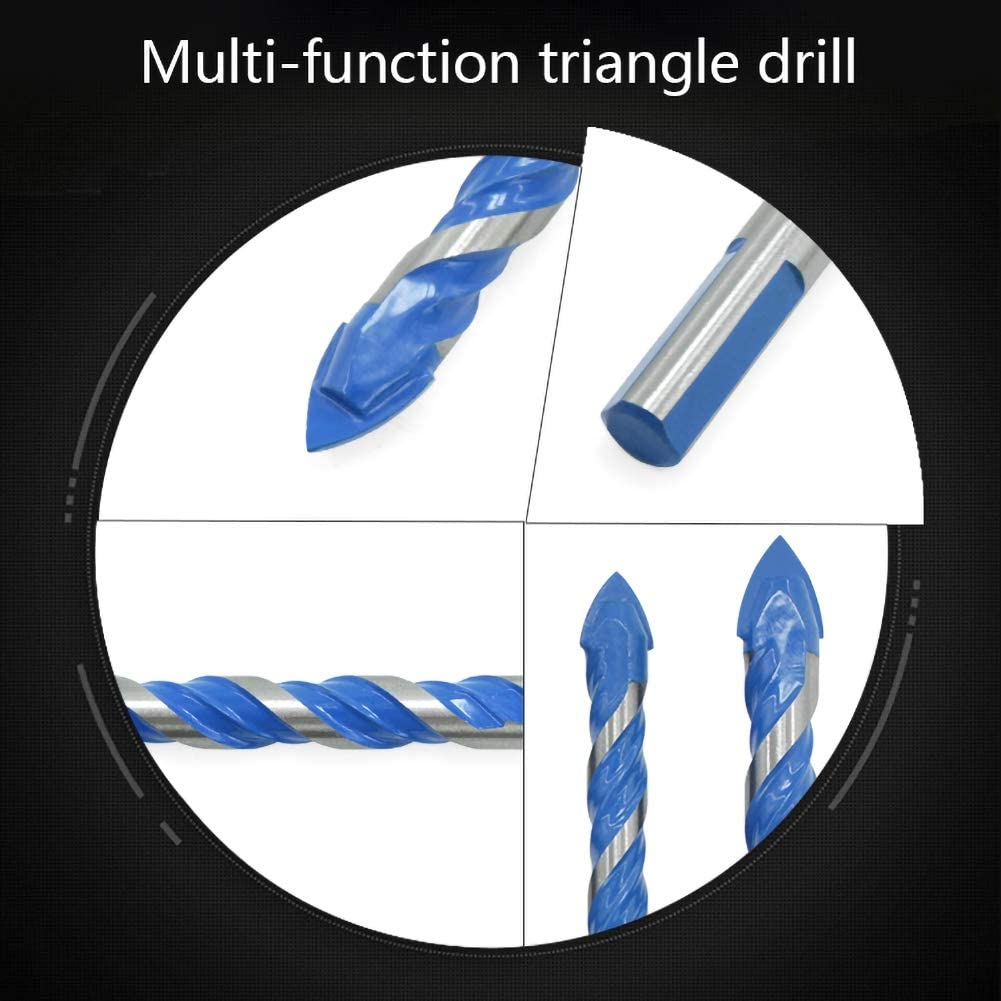 Autobestown Multifunctional Triangle Drill Bit Set Lengthened Ceramic Glass Tile Wall Hole Drill Bit