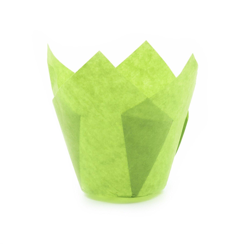 チューリップ型カップケーキライナー ペーパーベーキングカップ 簡単取り出しマフィンカップ/グリース不要 香フィンやカップケーキを焼くのに最適、Mサイズ:先端 高さ 3 -17 / 64インチ x 1 -57 / 64インチ。 グリーン B07B4JGGBX Green Tulip|125 Green Tulip