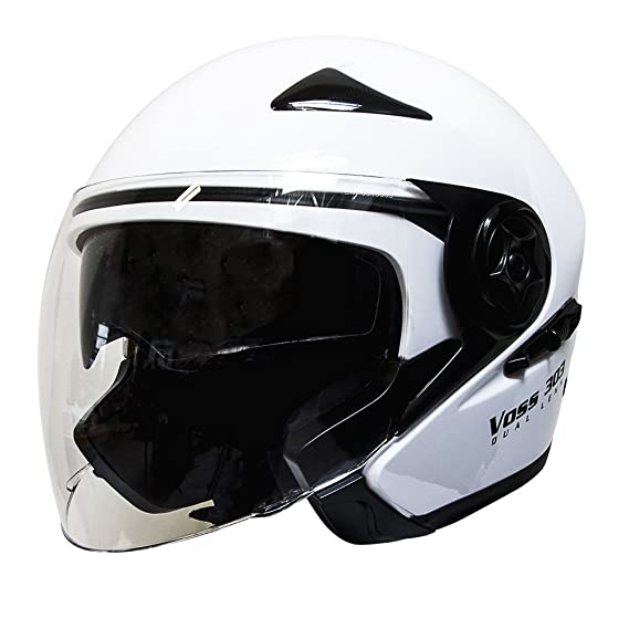 Amazon.com: Voss 303 Dual Lens Cruiser DOT Three Quarter / Open Face Helmet with Integrated Sun Lens and Quick Release System - S - Gloss White: Automotive