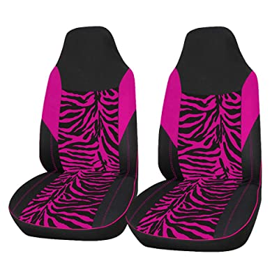 AUTOYOUTH 2PCS Trendy Pink Zebra Pattern Integrated Front Bucket Seat Cover Velvet Fabric Black Auto Accessories Universal Fits for Most Cars, SUV, Truck ¡­ (PINK-2): Automotive