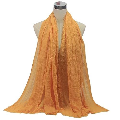 OULII Bufanda Hijab musulmana para mujer ropa musulmana accesorio (Naranja)