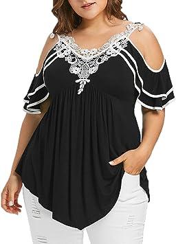 Yusealia Camisetas para Mujer Tallas Grandes, Blusa Sexy Mujer de Verano Blusa de Manga Corta Apliques de Encaje Escalonados con Cuello en V Frío Hombro Mujer Camisas Fiesta Camiseta Tops Blusa: Amazon.es: