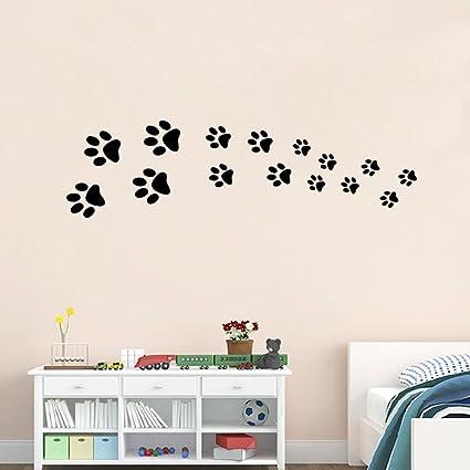 BIBITIME Black Dog Paw Prints Wall Decal Nursery Bedroom Kids Room Decor Vinyl Art Animal Footprint