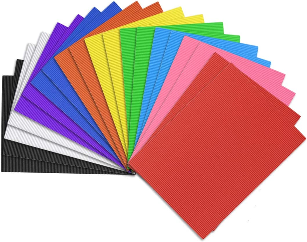 uxcell 20pcs Corrugated Cardboard Paper Sheets,Colorful,7.87-inch x 11.82-inch,for Craft and DIY Projects