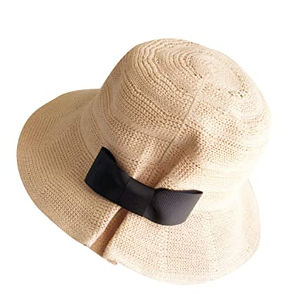 fcdd81a59 Amazon.com: Summer Beach Sun Hats,Quaanti Clearance Sale! Womens Foldable  Wide Brim Bucket Straw Sun Hat Ladies Summer Travel Bow Beach Caps 🔥Hot  Sale ...