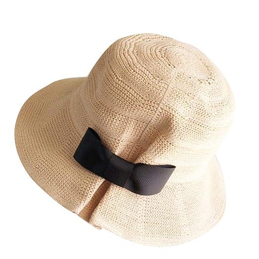 5d98f0e3d448cc YQZB Summer Beach Sun Hats for Women UPF Woman Foldable Floppy Holiday  Straw Cap Beige