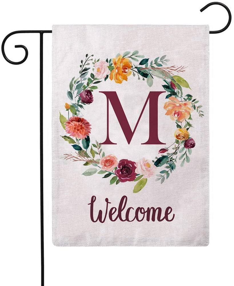ULOVE LOVE YOURSELF Letter M Garden Flag with Flowers Wreath Double Sided Print Welcome Garden Flags Outdoor House Yard Flags 12.5 x 18 Inch
