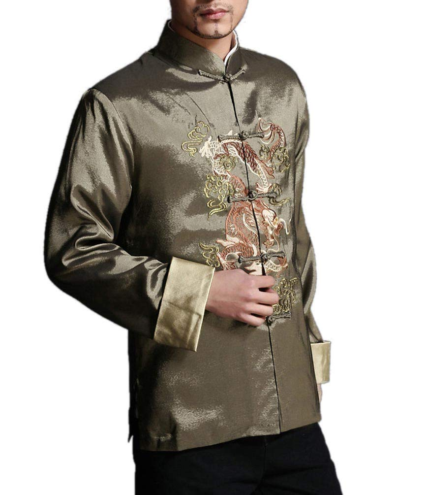 Stylish Green Kung Fu Men's Blazer Padded Jacket Dragon Shirt - 100% Silk #102 + Free Magazine by Interact China