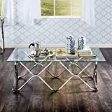 Silver Rectangle Coffee Table Made From Glass Metal, Chrome Finish and Contemporary Style Included Cross Scented Candle Tart