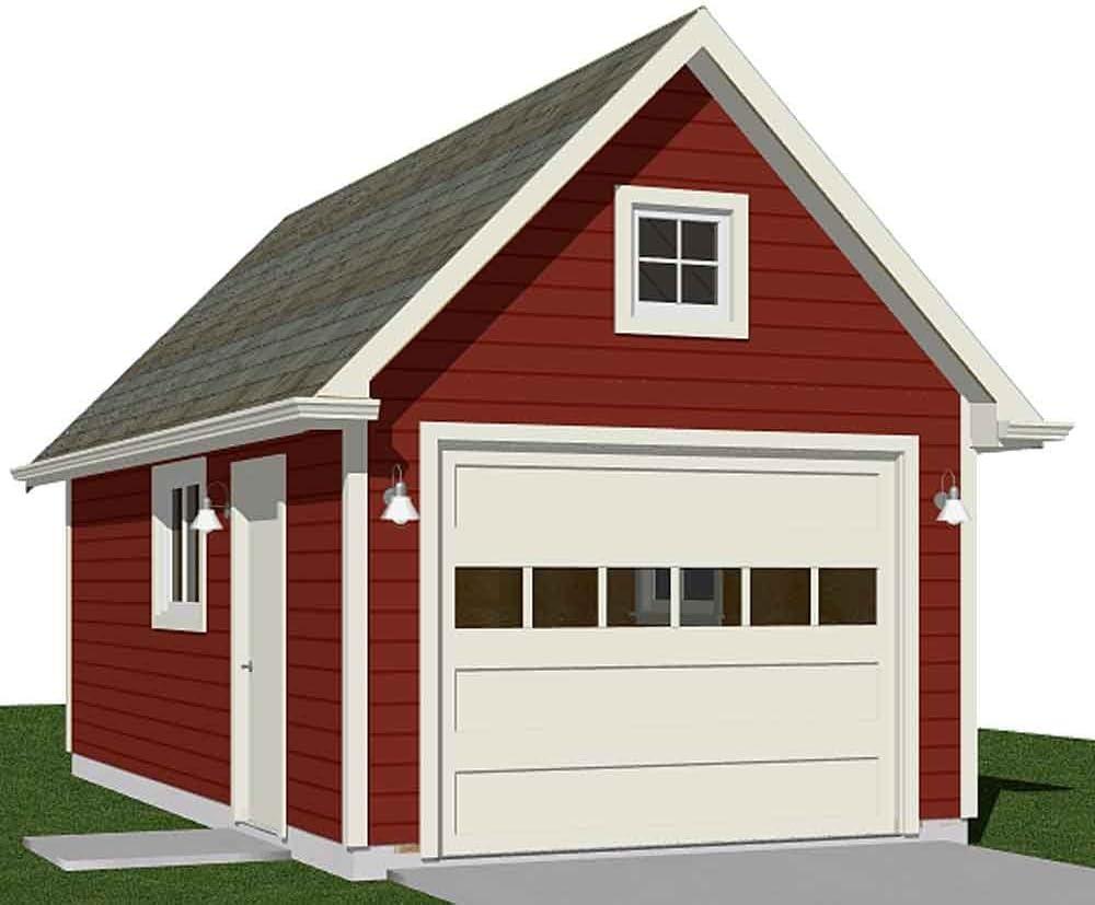 Garage Plans 1 Car Classic Garage With Attic Plan 288 3 12 X 24 One Car Amazon Com