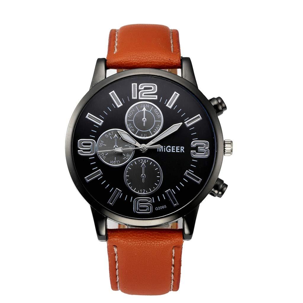 Men Watches Black,Classic New Men Watch Wrist Watch Leather Strap Quartz Casual Watches,Orange