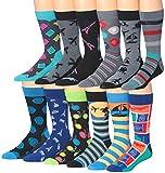 James FialloMen's 12 Pairs Cotton Funky Crazy Crew Winter Dress Socks, sock size, M190…