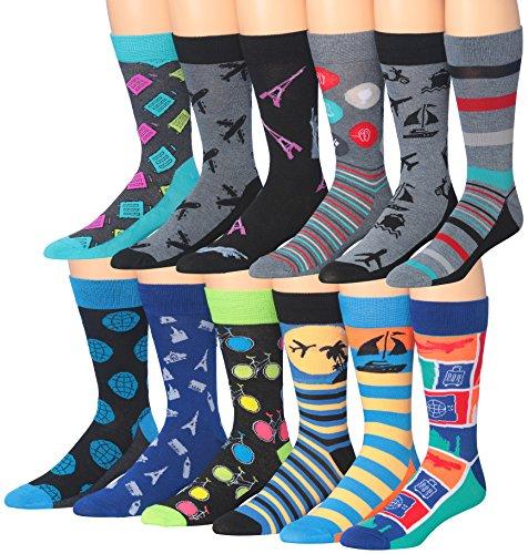 James FialloMen's 12 Pairs Cotton Funky Crazy Crew Winter Dress Socks, sock size, M190. (Fan Socks)