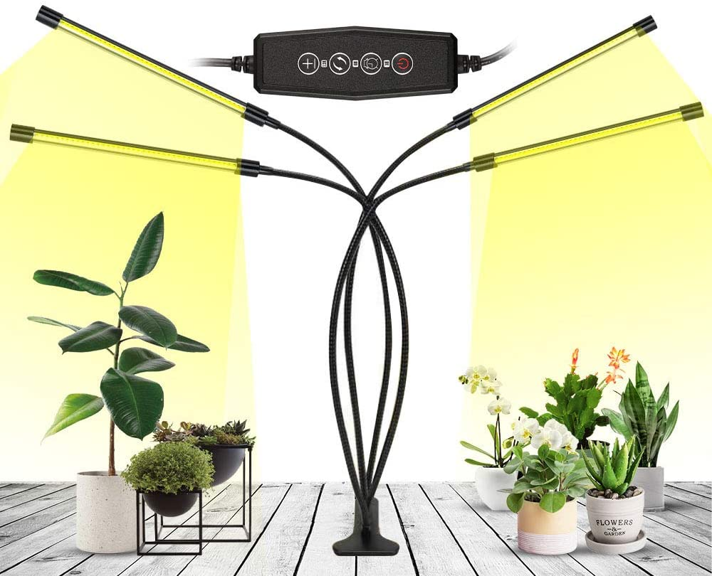 LED Grow Light, Growing Lamps for Seeding, Full Spectrum Plant Light for Indoor Plants with 160 Grow Lamp Bulbs,Heads 10 Dimmable Levels Grow Lights 360°Gooseneck,Auto ON&Off, AC or USB Powered