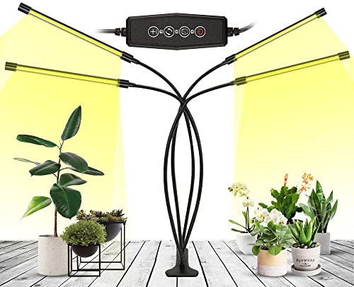 LED Grow Light for Indoor Plants Full Spectrum Grow Light with Timer Adjustable Gooseneck,3 Switch Modes Tri Head Clamp Light for Seedlings Indoor Plant