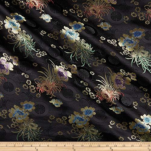 Satin 36'x48' (Ben Textiles Chinese Brocade Sateen Phoenix Black)