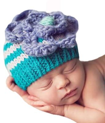 6950f0d6381ba Melondipity Lilac Bloom Baby Girl Hat - Premium Striped Crochet Beanie  Purple Flower(0 -