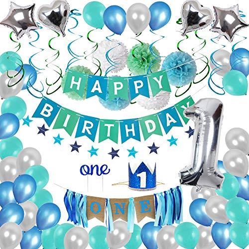 1st Birthday Decorations,Baby Boy First Birthday Party Supplies Include 87Pcs Silver Number 1 Balloons Crown High Chair Decoration Banners Hanging Swirls Paper Pompoms Blue and Green Balloons Cake Flags For One Year Old Baby