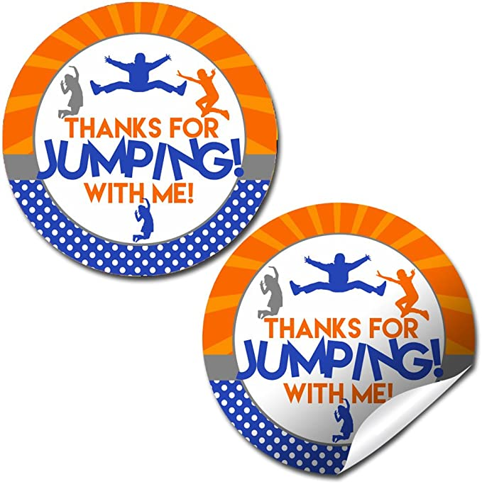 Trampoline Jumping Party Birthday Personalized Treat Bags and Stickers Set of 20