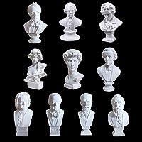 10 Pezzi Mini Musicista Busto di Gesso Statue Sculpture, Schizzo Disegna Figura Modello, Decorative Statua in Resina Artistici Ornamento