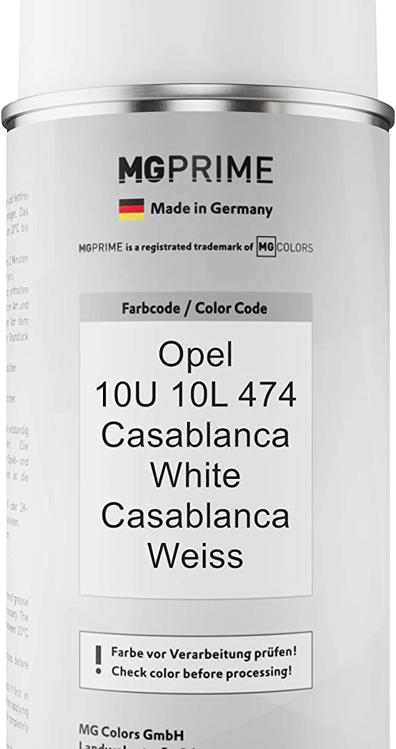 Mg Prime Autolack Sprühdosen Set Für Opel 10u 10l 474 Casablanca White Casablanca Weiss Basislack Klarlack Spraydose 400ml Auto