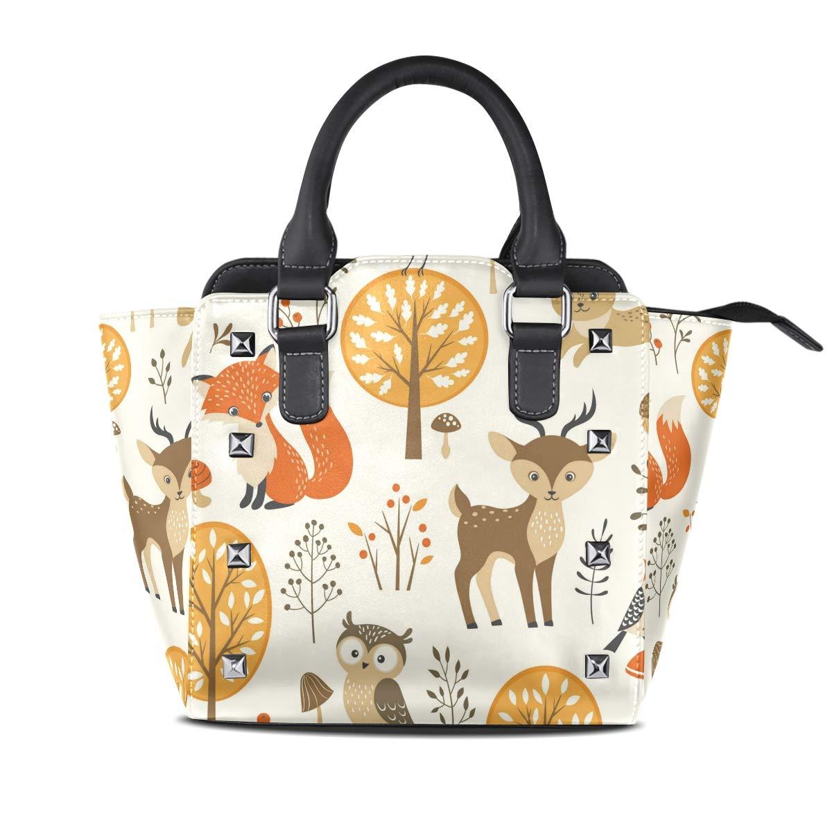 Design4 Handbag LongHorned Cat And Unicorn Genuine Leather Tote Rivet Bag Shoulder Strap Top Handle Women
