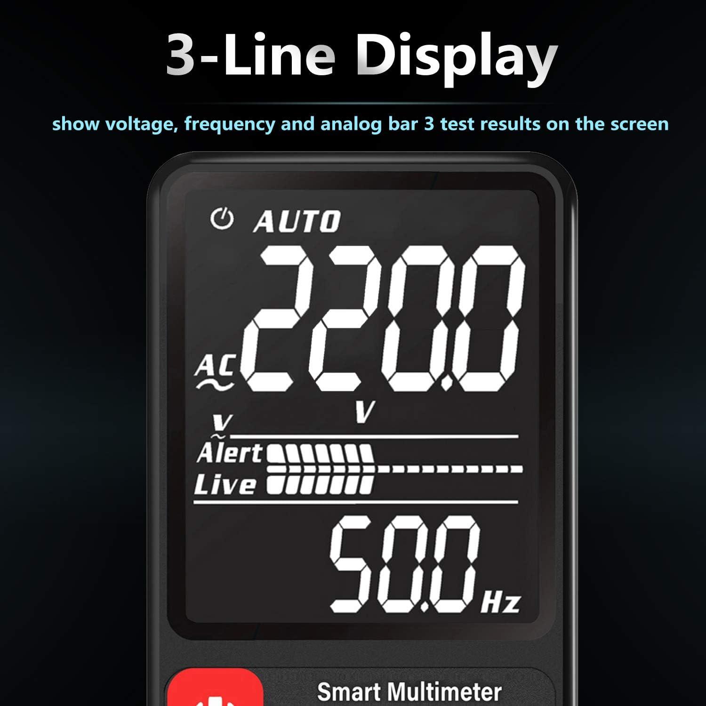 BSIDE EBTN Voltm/ètre LCD avec /écran de 3,5 pouces Multim/ètre RMS Auto port/ée 6000 fils avec testeur de tension Ohm