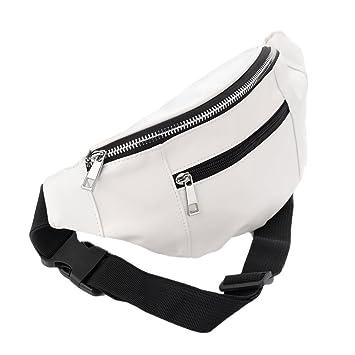 f05d0ca76f White Faux Leather Bum Bag/ Fanny Pack - Holidays/ Festivals: Amazon.co.uk:  Luggage