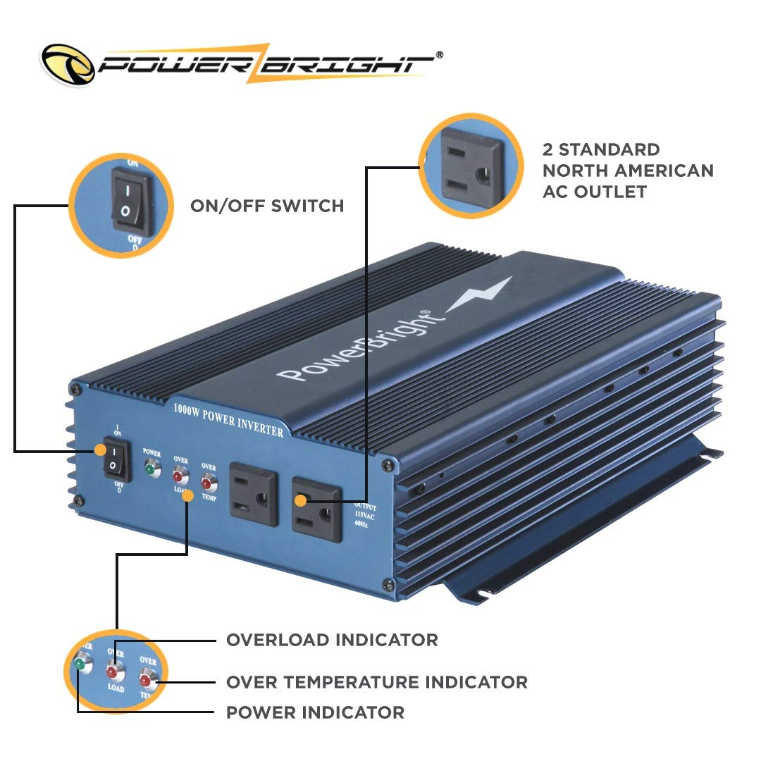 PowerBright 24 Volts Pure Sine Power Inverter 1000 Watt, True Sine Continuous 24 Volt DC to 120 Volt AC – Perfect for an Emergency, Hurricane, Storm Outage
