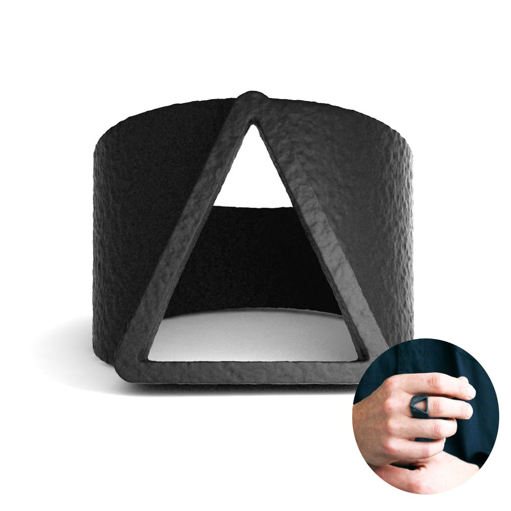Mens Black Ring Unique Classic Matte Finish Triangle Engraved Bands SUM®